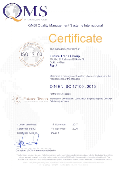 Certificate ISO 17100